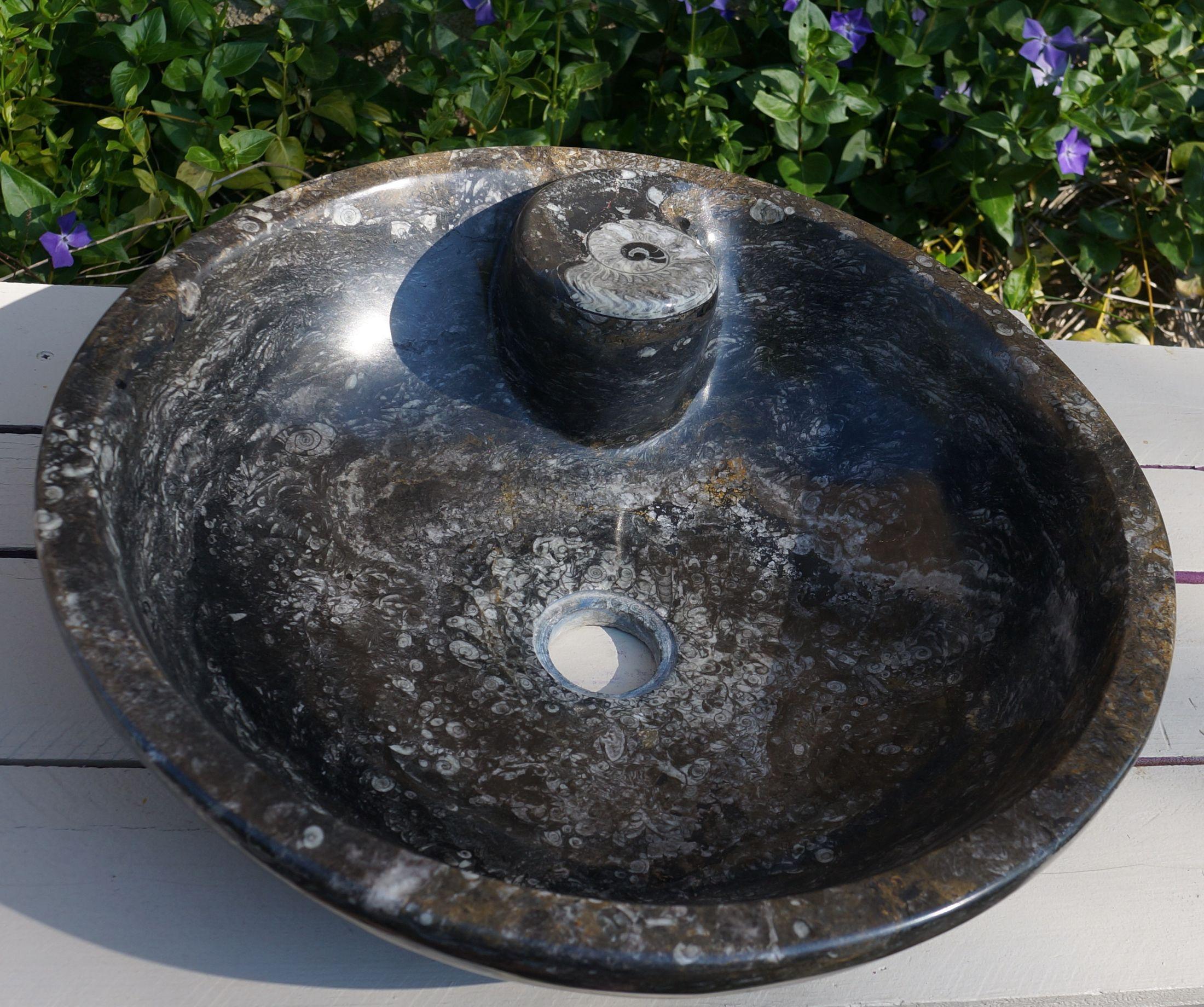 Vasque pierre marbre fossilifere